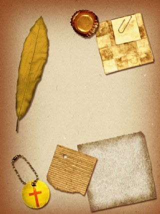 樹葉 懷舊紙 牛皮紙 撕裂的紙圖片